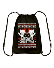 Meowie Ugly Christmas Sweater Cat Lovers Gift Drawstring Bag thumbnail