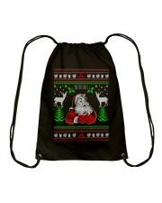 Santa Claus Ugly Christmas Sweater Drawstring Bag thumbnail