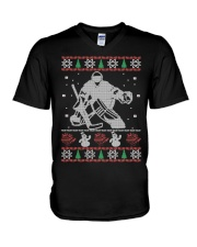Hockey Goalie Ugly Christmas Sweater V-Neck T-Shirt thumbnail