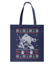 Hockey Goalie Ugly Christmas Sweater Tote Bag thumbnail