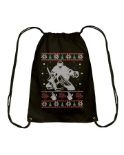 Hockey Goalie Ugly Christmas Sweater Drawstring Bag thumbnail
