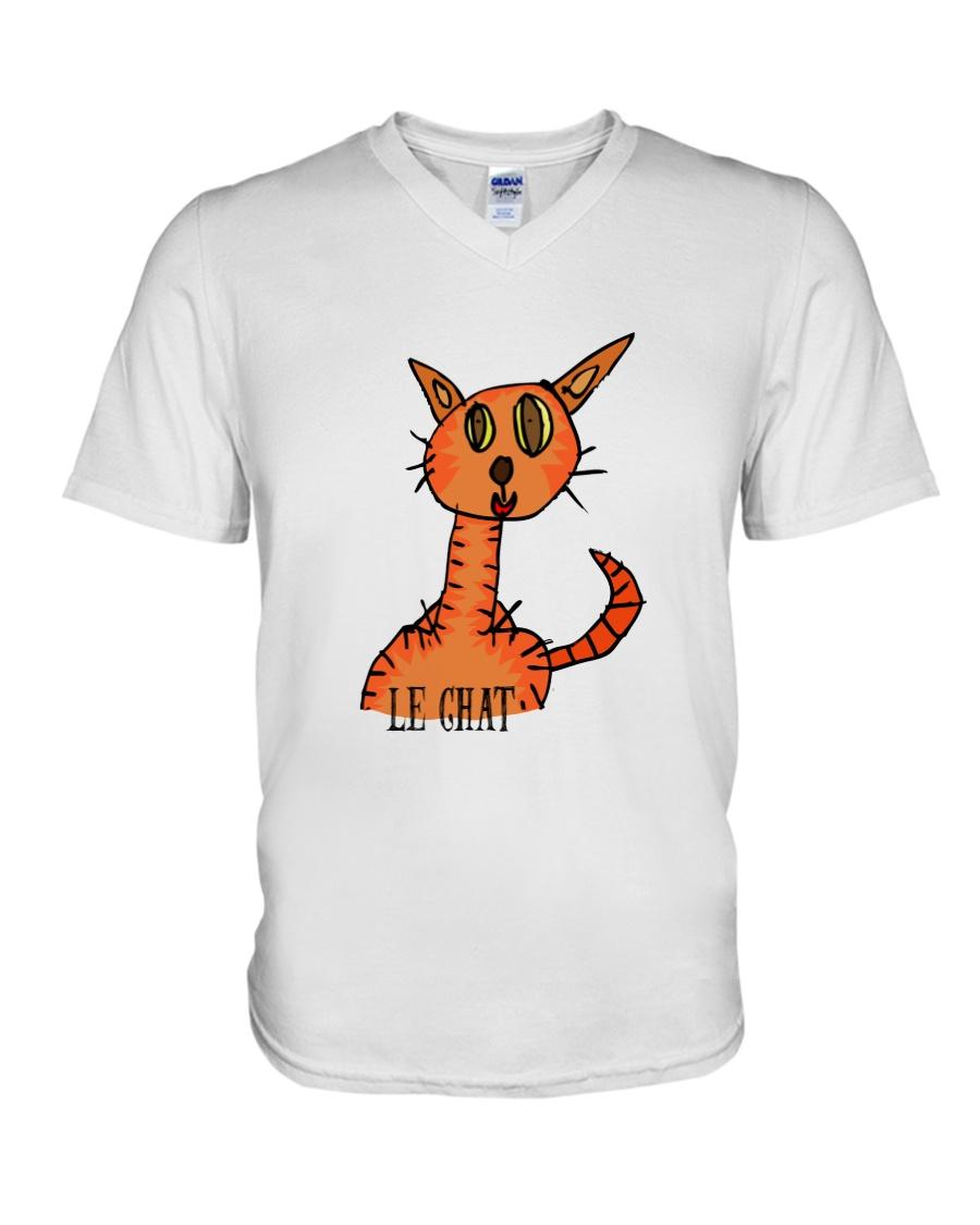 Le chat orange V-Neck T-Shirt