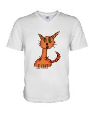 Le chat orange V-Neck T-Shirt front