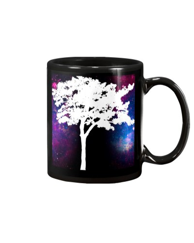A black cup with a beautiful picture of a tree