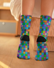 Colorful Tiles Abstract Pattern  Crew Length Socks aos-accessory-crew-length-socks-lifestyle-back-01