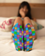 Colorful Tiles Abstract Pattern  Crew Length Socks aos-accessory-crew-length-socks-lifestyle-back-02