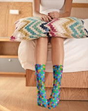 Colorful Tiles Abstract Pattern  Crew Length Socks aos-accessory-crew-length-socks-lifestyle-front-01