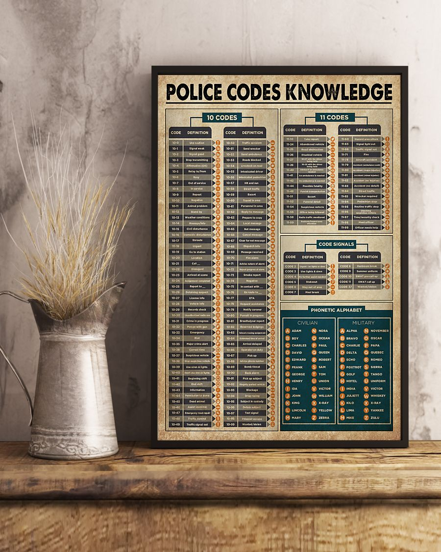 Wall Art Classic  Vintage Police Codes Knowledge Poster Print 24x36 Inches
