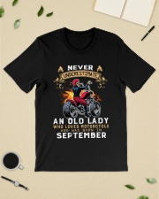 Old Lady loves motorcycle Was born in September Classic T-Shirt lifestyle-mens-crewneck-front-19