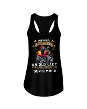 Old Lady loves motorcycle Was born in September Ladies Flowy Tank thumbnail
