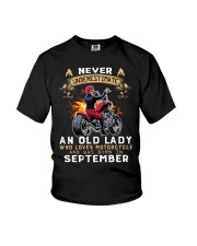 Old Lady loves motorcycle Was born in September Youth T-Shirt thumbnail