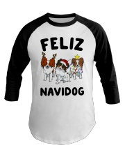 Feliz Navidog Papillon Christmas SHIRT Baseball Tee thumbnail