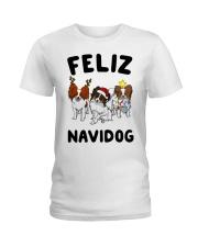 Feliz Navidog Papillon Christmas SHIRT Ladies T-Shirt thumbnail