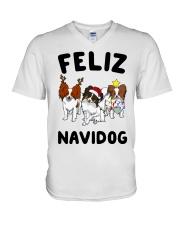 Feliz Navidog Papillon Christmas SHIRT V-Neck T-Shirt thumbnail