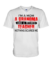 I'm a Mom a Grandma and a retired teacher V-Neck T-Shirt tile