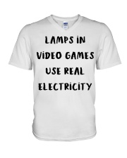 Lamps in video games use real electricity shirt V-Neck T-Shirt thumbnail