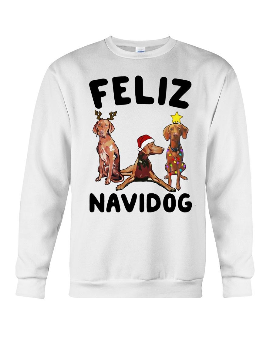Feliz Navidog Vizsla Christmas Crewneck Sweatshirt