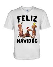 Feliz Navidog Vizsla Christmas V-Neck T-Shirt thumbnail