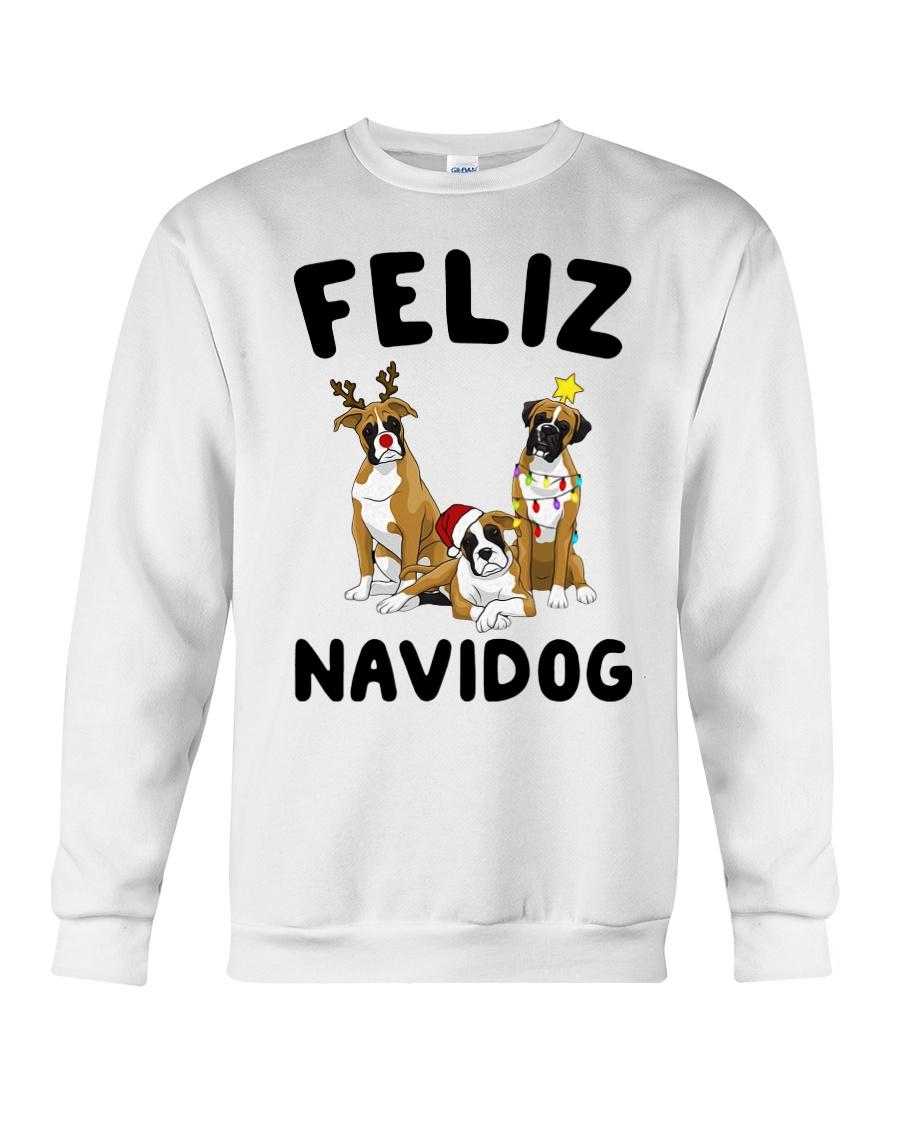 Feliz Navidog Boxer Christmas Crewneck Sweatshirt