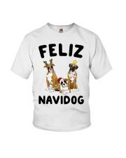 Feliz Navidog Boxer Christmas Youth T-Shirt thumbnail