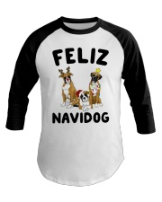 Feliz Navidog Boxer Christmas Baseball Tee thumbnail