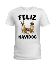 Feliz Navidog Boxer Christmas Ladies T-Shirt thumbnail