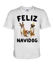 Feliz Navidog Boxer Christmas V-Neck T-Shirt thumbnail