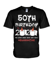 50th birthday 2020 the year when shit got real  V-Neck T-Shirt thumbnail