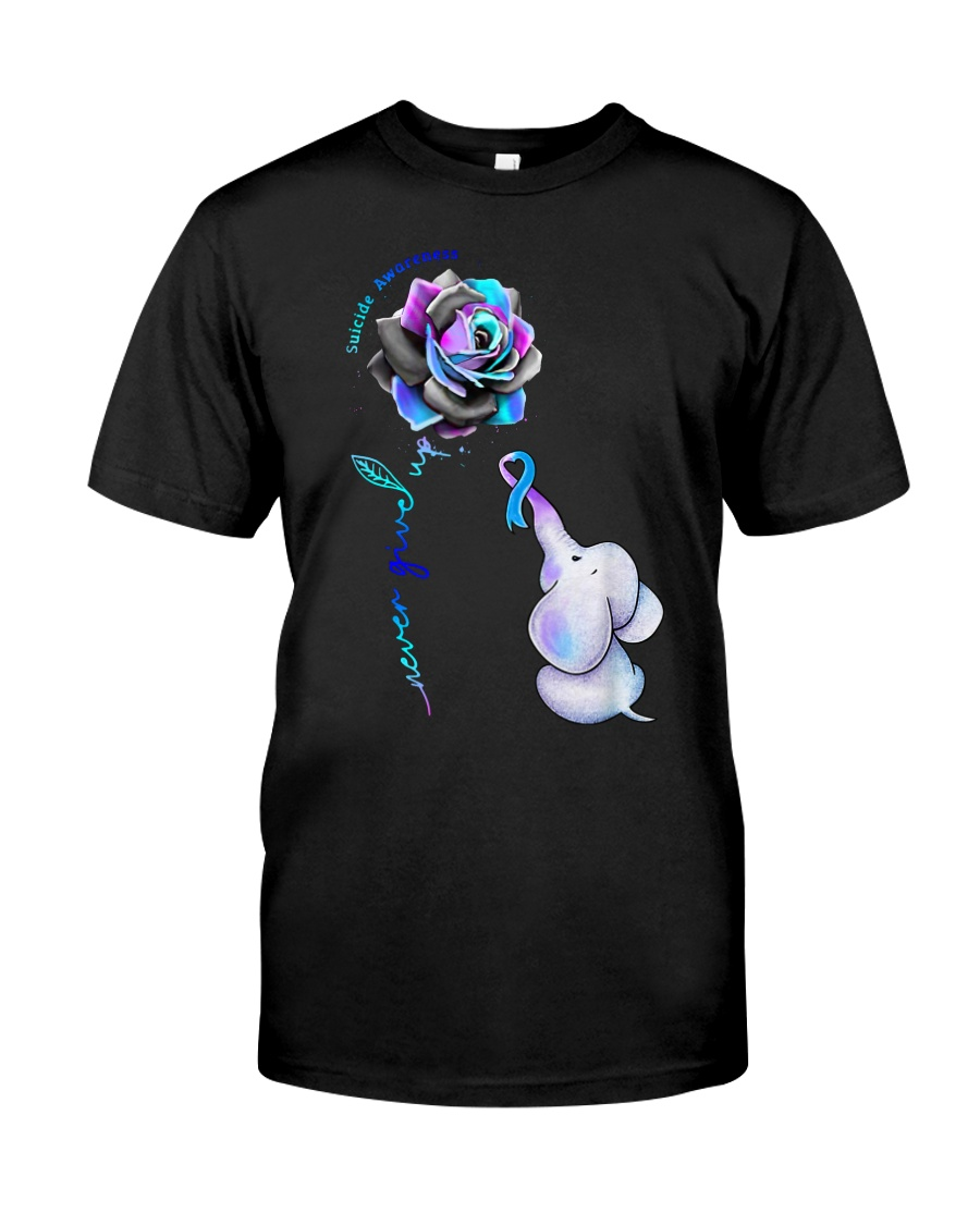 Elephant  suicide awareness rose never give  Classic T-Shirt
