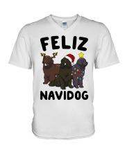 Feliz Navidog Newfoundland Christmas shirt V-Neck T-Shirt thumbnail