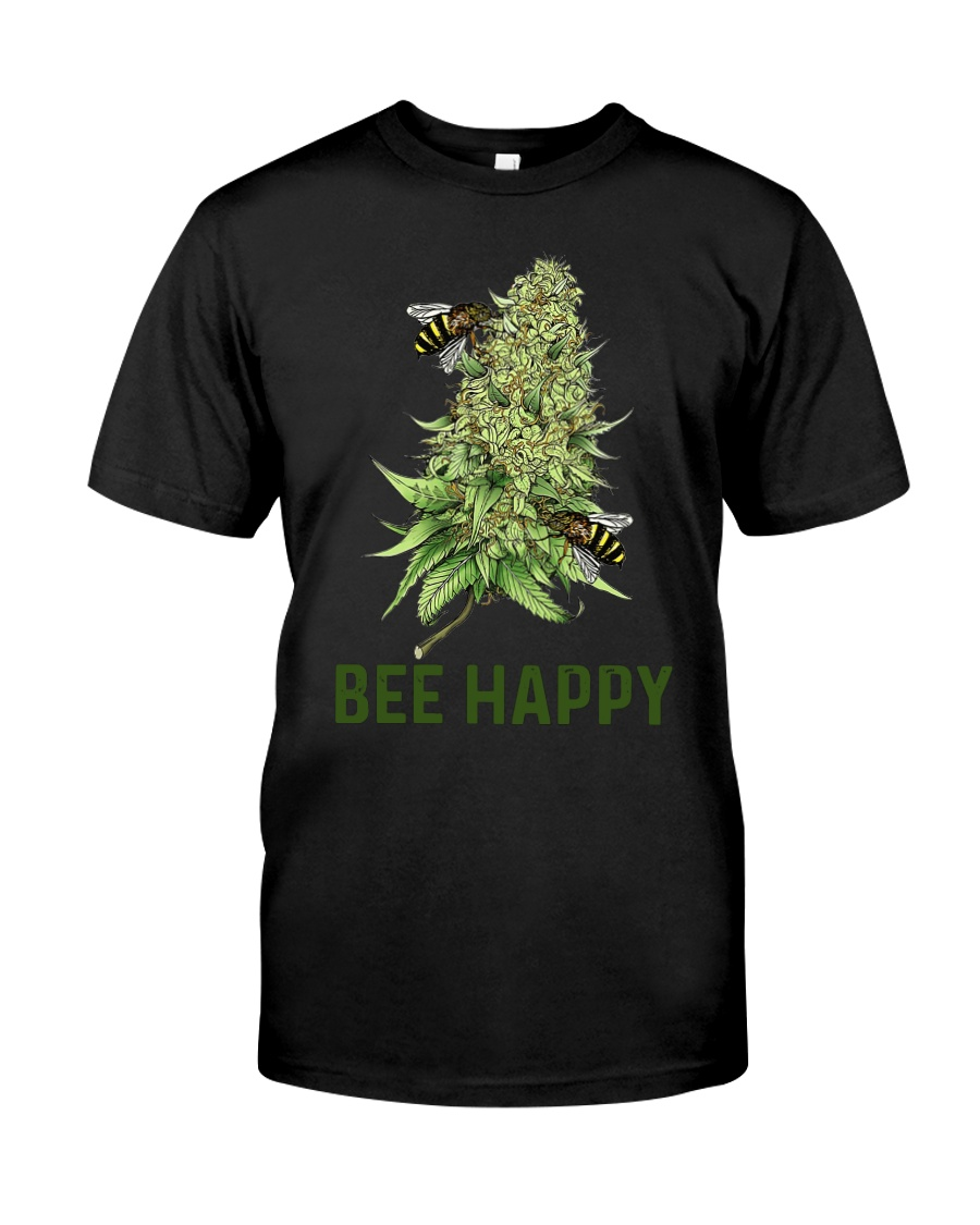 Bee Happy cannabis shirt Classic T-Shirt