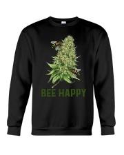 Bee Happy cannabis shirt Crewneck Sweatshirt thumbnail