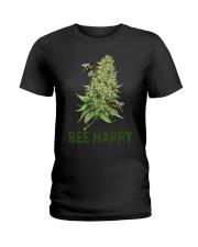 Bee Happy cannabis shirt Ladies T-Shirt thumbnail