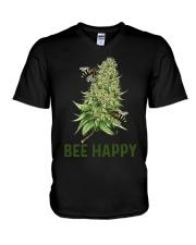 Bee Happy cannabis shirt V-Neck T-Shirt tile