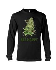 Bee Happy cannabis shirt Long Sleeve Tee thumbnail
