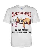Sloth sleeping nurse do not disturb unless  V-Neck T-Shirt thumbnail