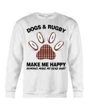Dogs and Rugby make me happy shirt Crewneck Sweatshirt thumbnail