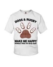 Dogs and Rugby make me happy shirt Youth T-Shirt thumbnail