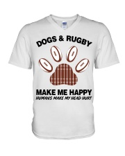 Dogs and Rugby make me happy shirt V-Neck T-Shirt thumbnail