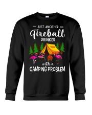 Flamingos camping - Just Fireball a camping  Crewneck Sweatshirt thumbnail