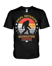Bigfoot Social Distancing Quarantine Champion  V-Neck T-Shirt thumbnail