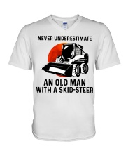 Never underestimate an old man with a skid V-Neck T-Shirt thumbnail