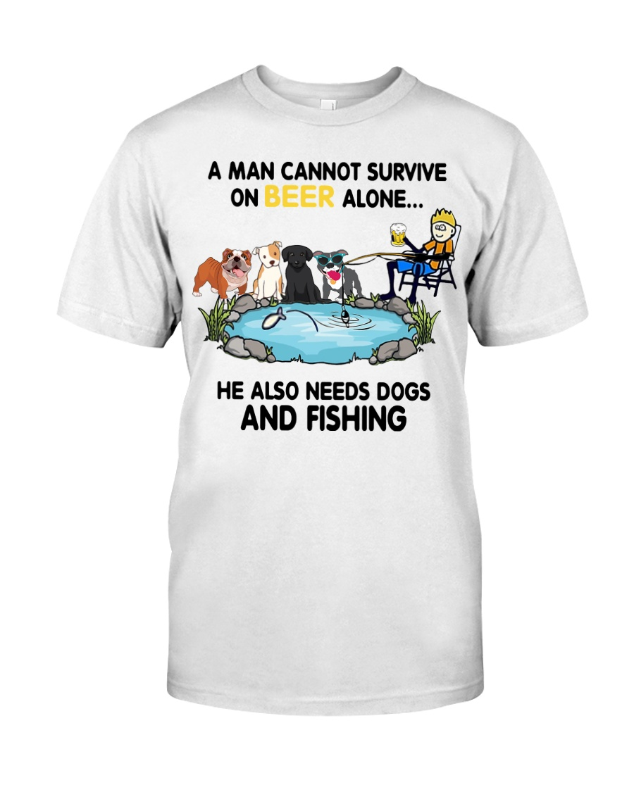 Man Beer Dogs Fishing shirt Classic T-Shirt