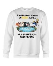 Man Beer Dogs Fishing shirt Crewneck Sweatshirt thumbnail