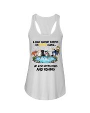 Man Beer Dogs Fishing shirt Ladies Flowy Tank thumbnail