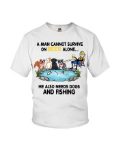 Man Beer Dogs Fishing shirt Youth T-Shirt tile