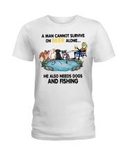 Man Beer Dogs Fishing shirt Ladies T-Shirt thumbnail