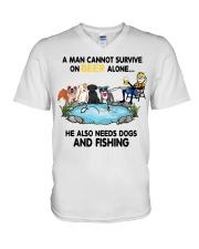 Man Beer Dogs Fishing shirt V-Neck T-Shirt thumbnail