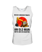 Never Underestimate an old man with an Excavator  Unisex Tank thumbnail