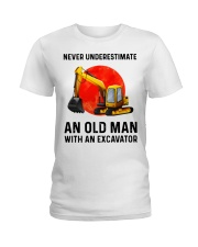 Never Underestimate an old man with an Excavator  Ladies T-Shirt thumbnail